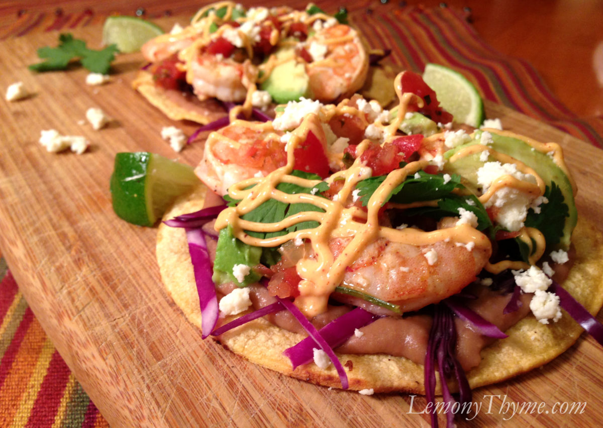 Cilantro Lime Shrimp & Avocado Tostadas {Weight Watchers}