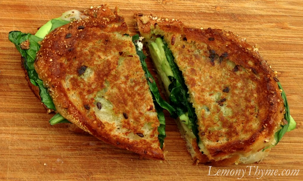 Spinach & Avocado with Pesto Grilled Cheese Lemony Thyme
