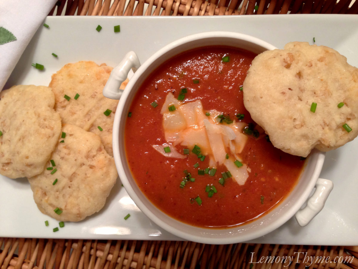 Roasted Tomato Soup {with White Cheddar Cheese Cookies} Lemony ...