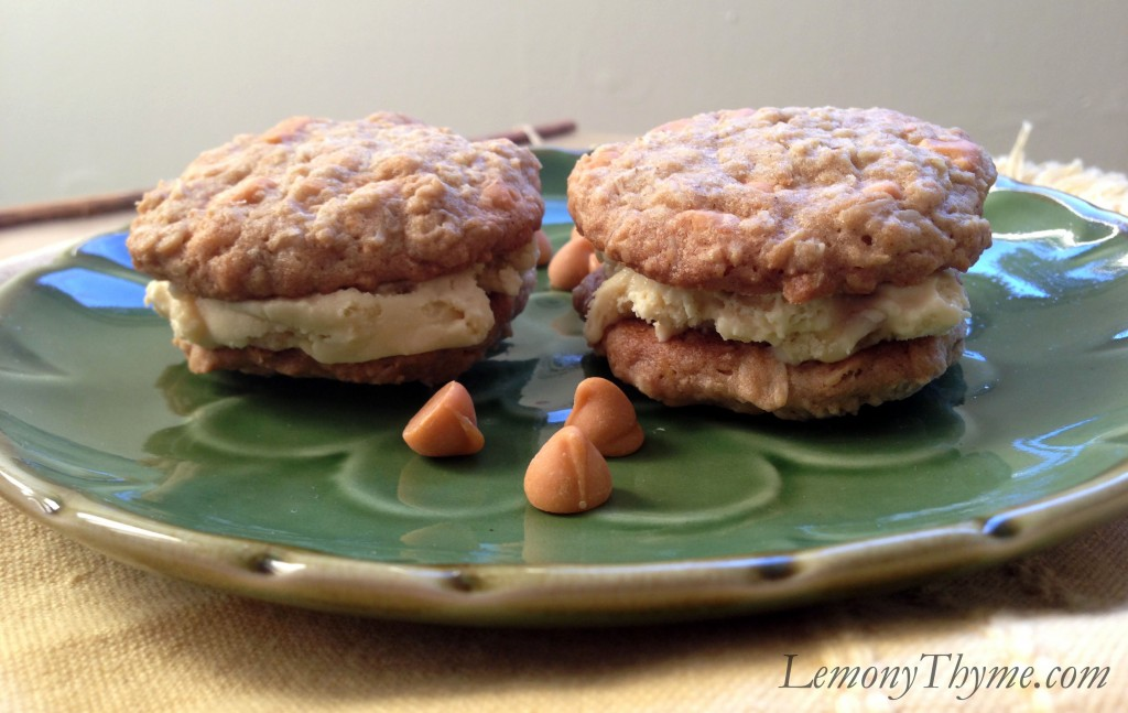 Buttercrunch Oatmeal Cookie Ice Cream Sandwiches Lemony Thyme