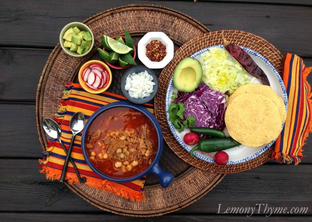 Pozole Rojo {Pork & Hominy Stew} Lemony Thyme
