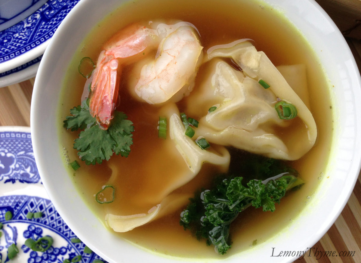 Wonton Soup with Shrimp & Kale Lemony Thyme