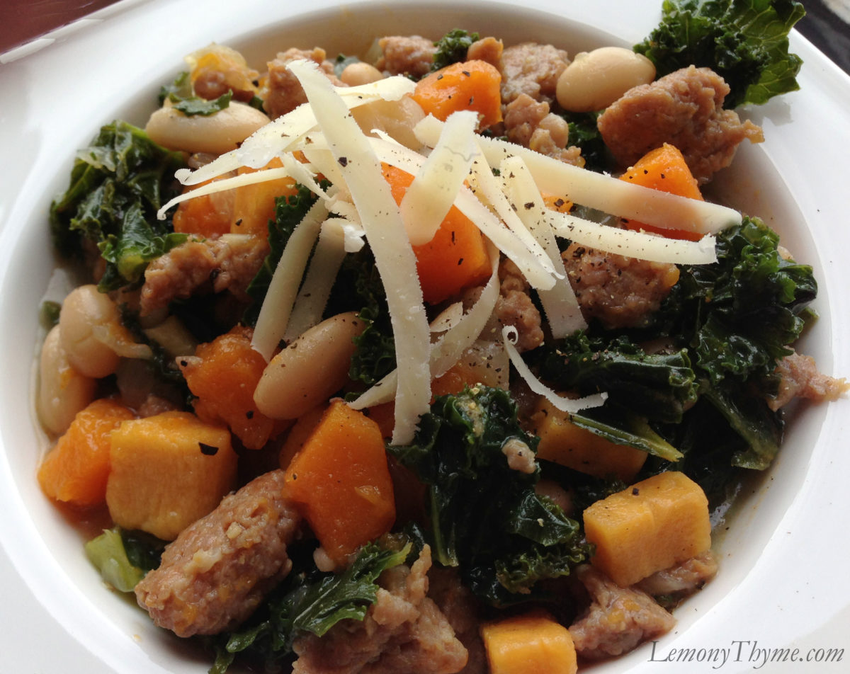 Kale with Sausage, White Beans & Butternut Squash