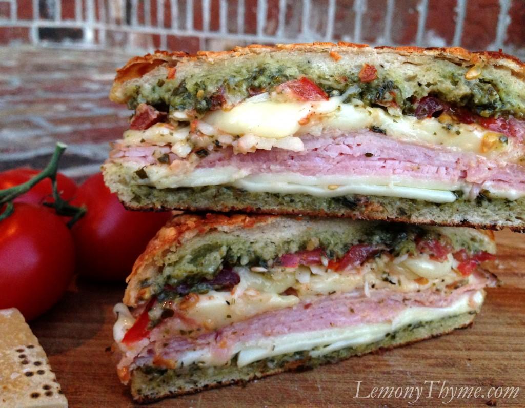 Parmesan Pesto Grilled Tomato, Ham & Cheese Sandwich Lemony Thyme
