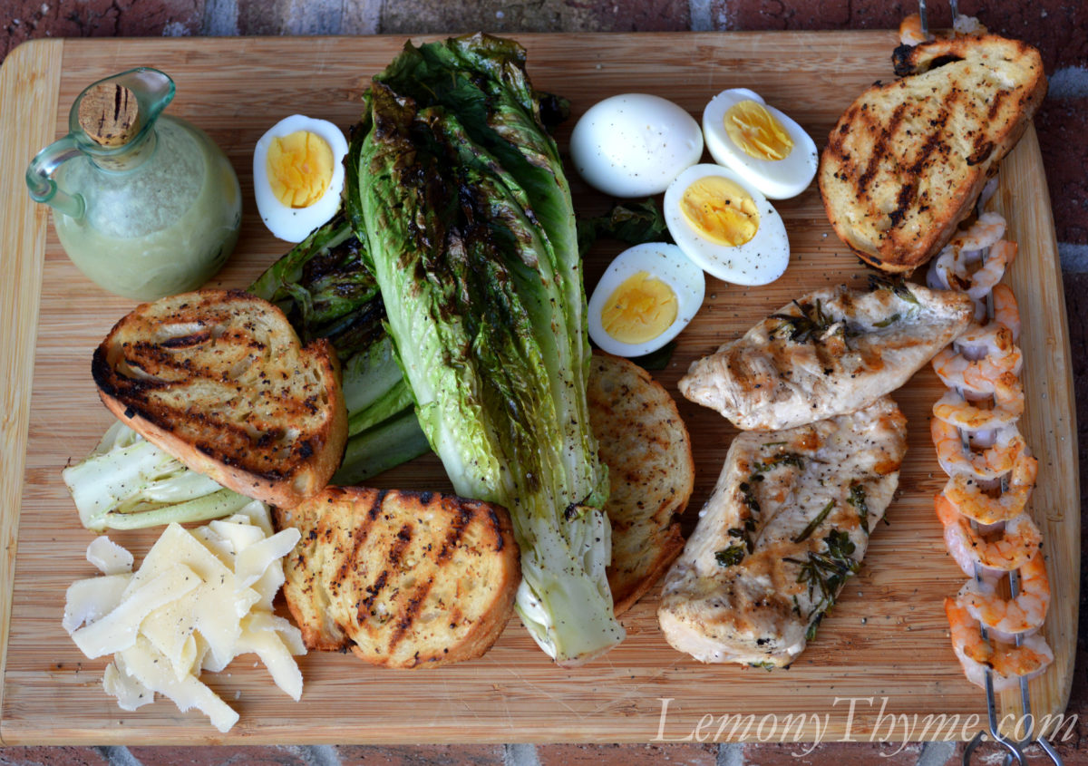 Grilled Caesar Salad with Herb Grilled Chicken & Shrimp Lemony ...