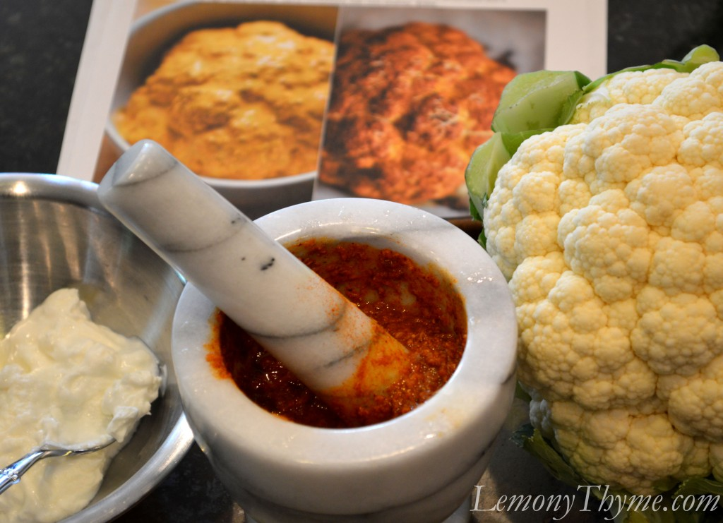 Whole Roasted Tandoori Cauliflower {with Mint Chutney} Lemony Thyme