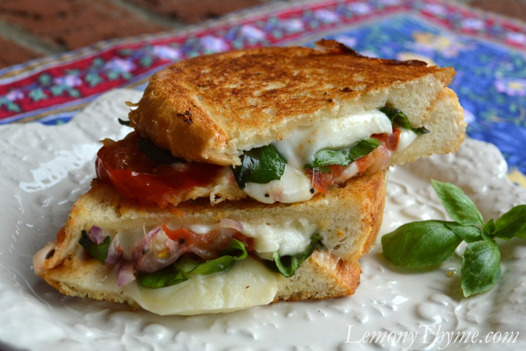 Caprese Grilled Cheese Sandwich Lemony Thyme