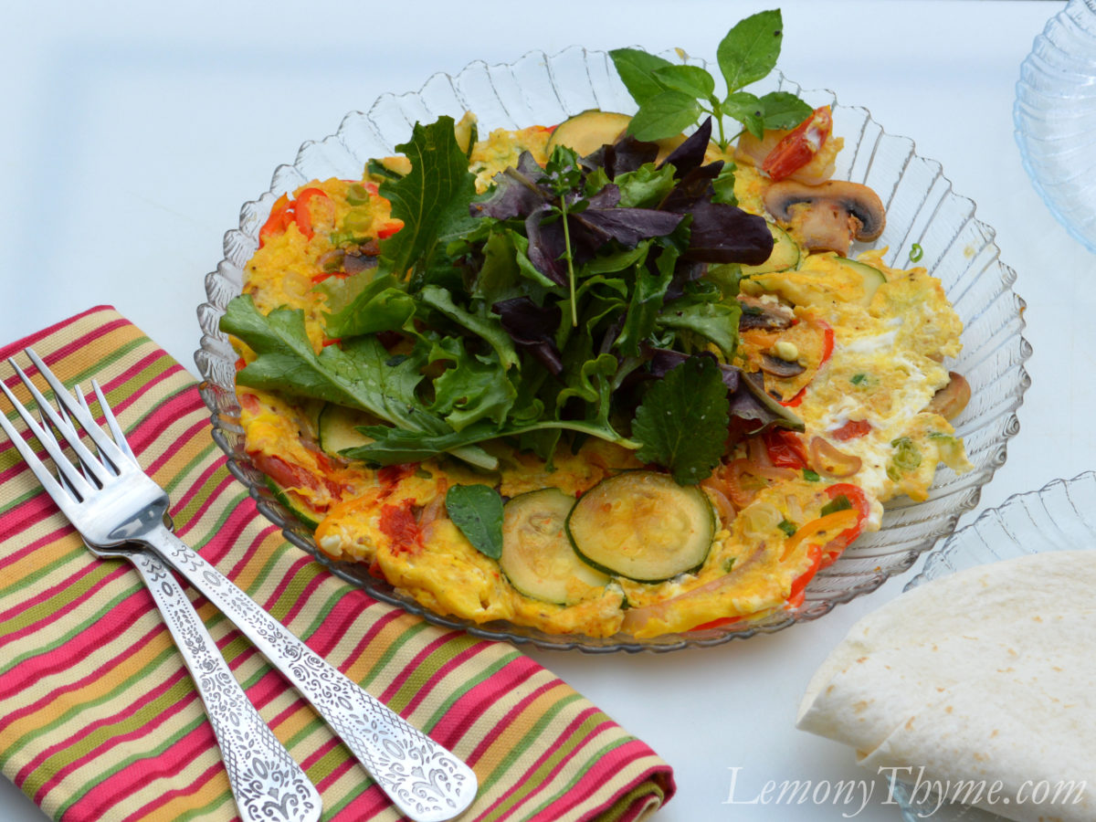 Veggie Frittata Breakfast Burrito & Quesadilla Lemony Thyme