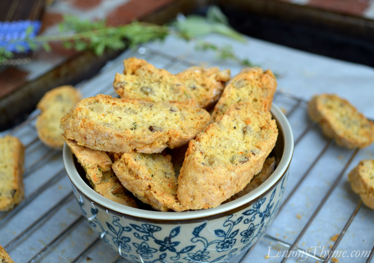 Savory Parmesan & Herb Walnut Biscotti