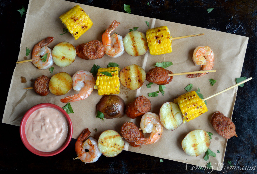 Low-Country Boil Skewers Lemony Thyme