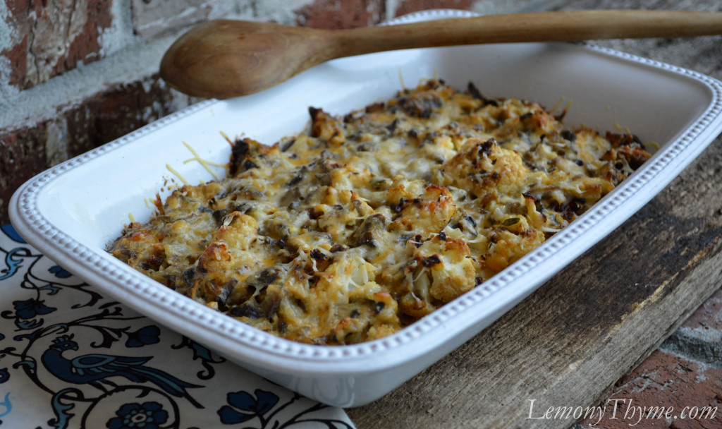 Roasted Cauliflower & Mushroom Casserole is a wonderful rustic side ...