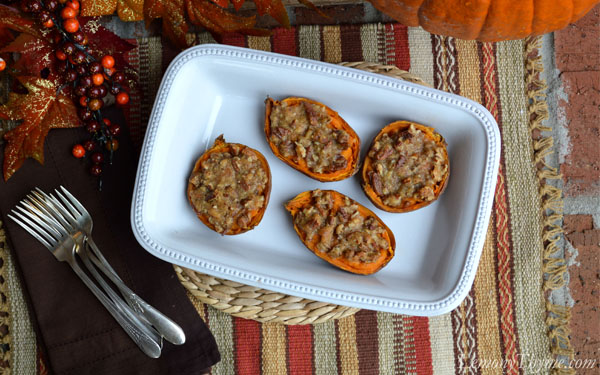 Twice Baked Sweet Potatoes {with Brown Sugar & Pecans} - All She Cooks