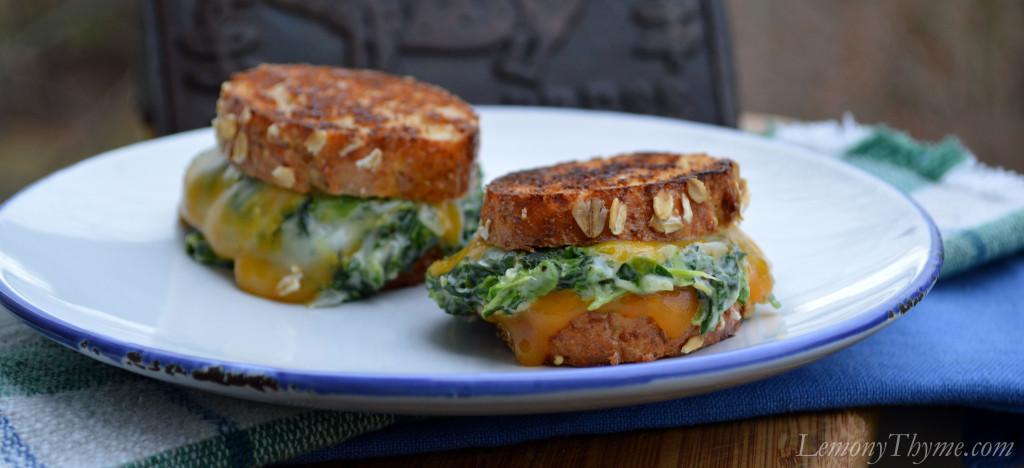 Spinach Arfredo Grilled Cheese Sandwiches