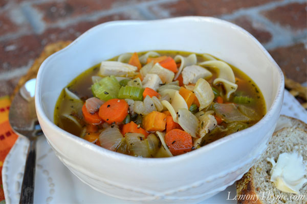 Turkey Noodle Soup {with Thyme Roasted Veggies} Lemony Thyme