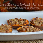 Twice Baked Sweet Potatoes with Brown Sugar & Pecans