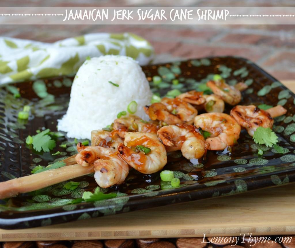 Jamaican Jerk Sugar Cane Shrimp from Lemony Thyme