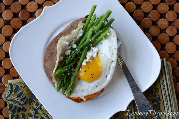 ... Potato {with Steamed Asparagus, Goat Cheese & Fried Egg} Lemony Thyme