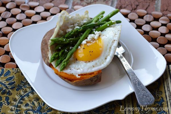 Baked Sweet Potato {with Steamed Asparagus, Goat Cheese & Fried Egg