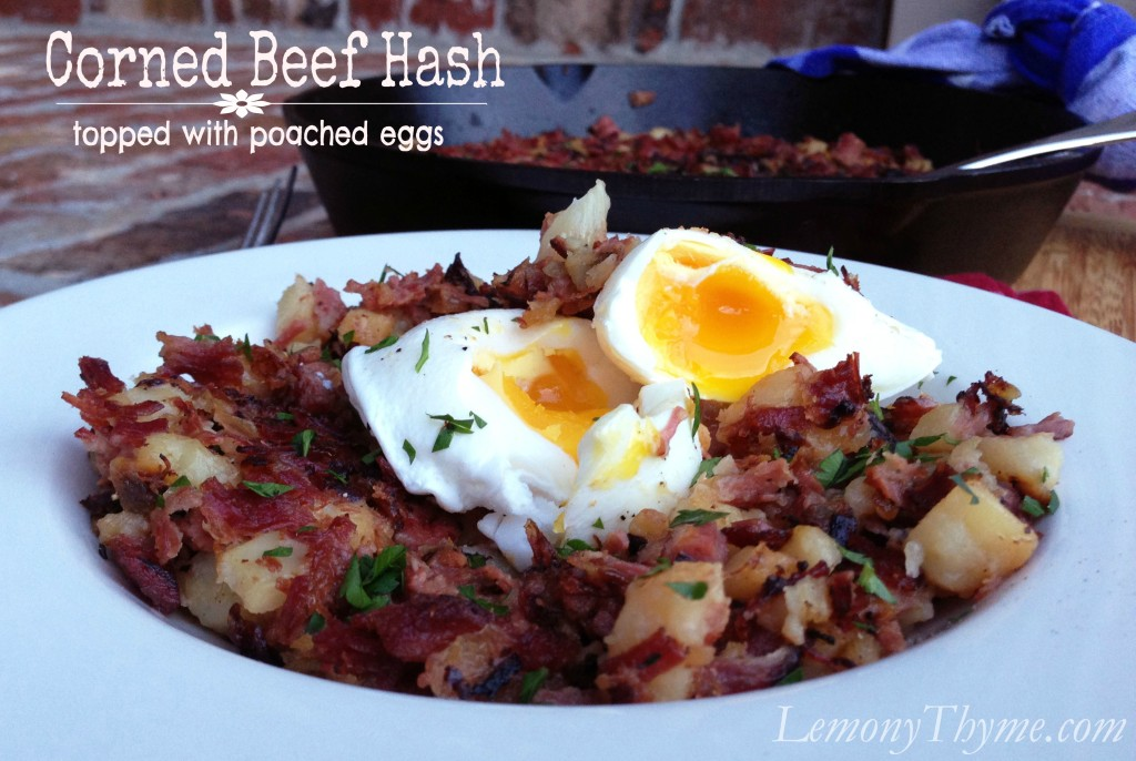 Corned Beef Hash with Poached Eggs from Lemony Thyme
