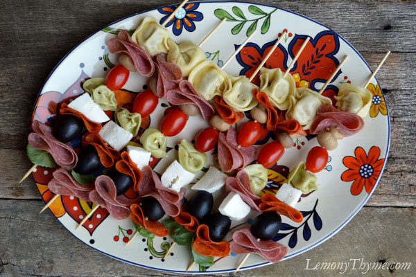 Antipasto Skewers {a fun & easy party food} Lemony Thyme