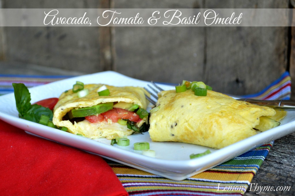 Avocado Tomato & Basil Omelet from Lemony Thyme