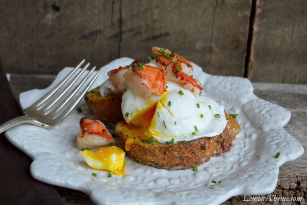 Lobster Topped Poached Egg on Savory French Toast from Lemony Thyme