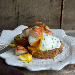 Lobster Topped Poached Egg on Savory French Toast