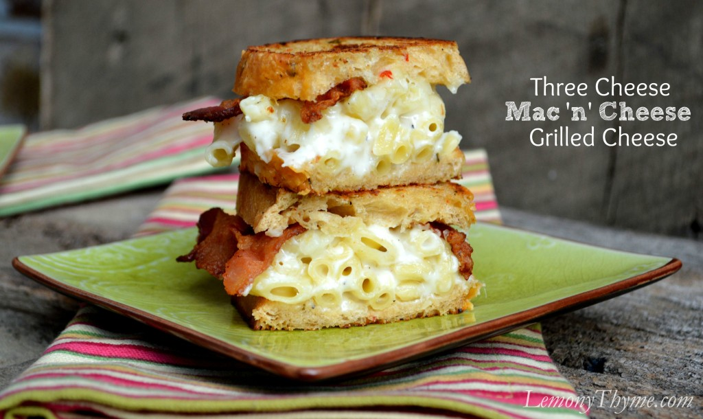 Three Cheese Mac 'n' Cheese Grilled Cheese from Lemony Thyme