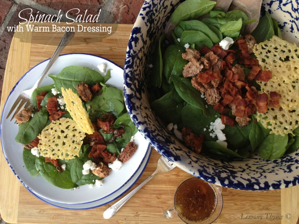 Spinach Salad with Warm Bacon Dressing ~