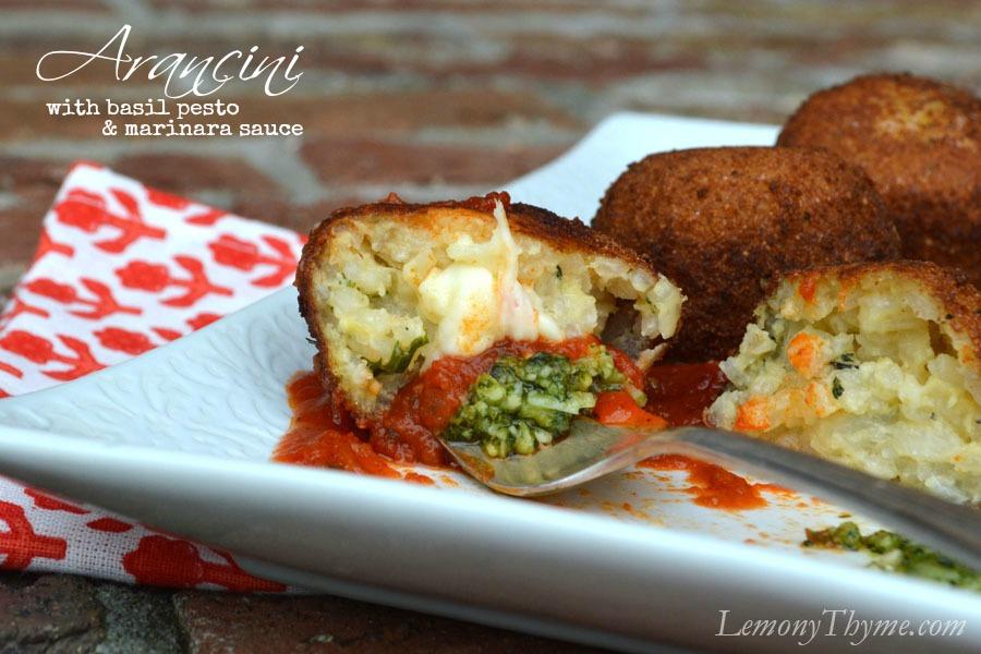 Arancini with Basil Pesto & Marinara Sauce
