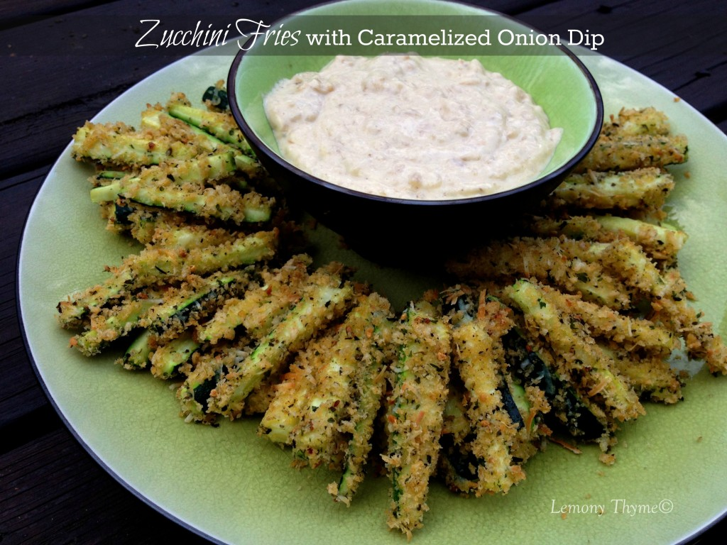 Zucchini Fries with Caramelized Onion Dip from Lemony Thyme
