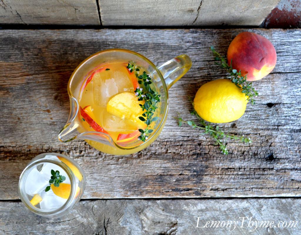 slices and lemony thyme sprigs to serve. Lemony Thyme Peach Lemonade ...