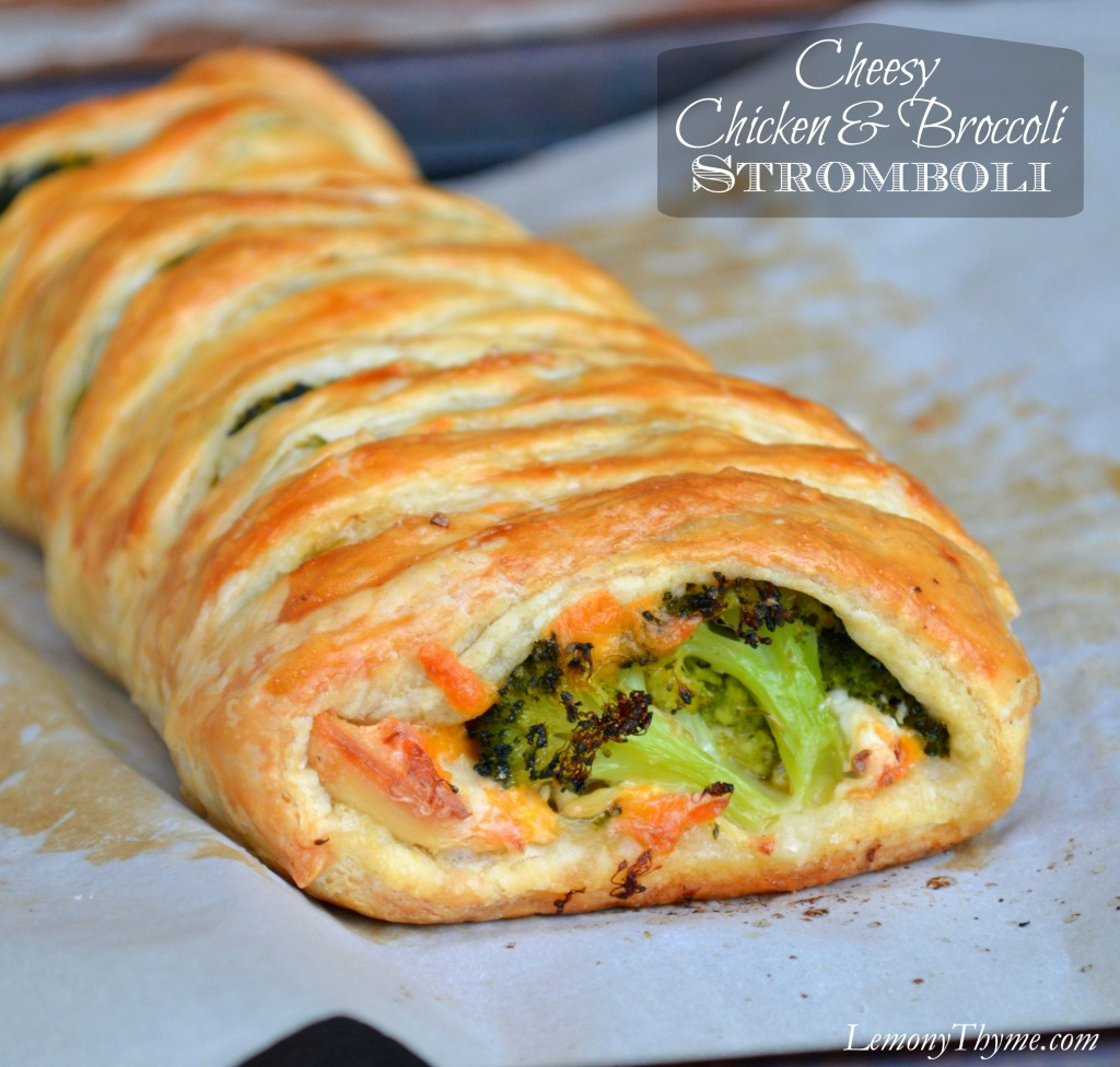 Cheesy Chicken & Broccoli Stromboli | LemonyThyme.com