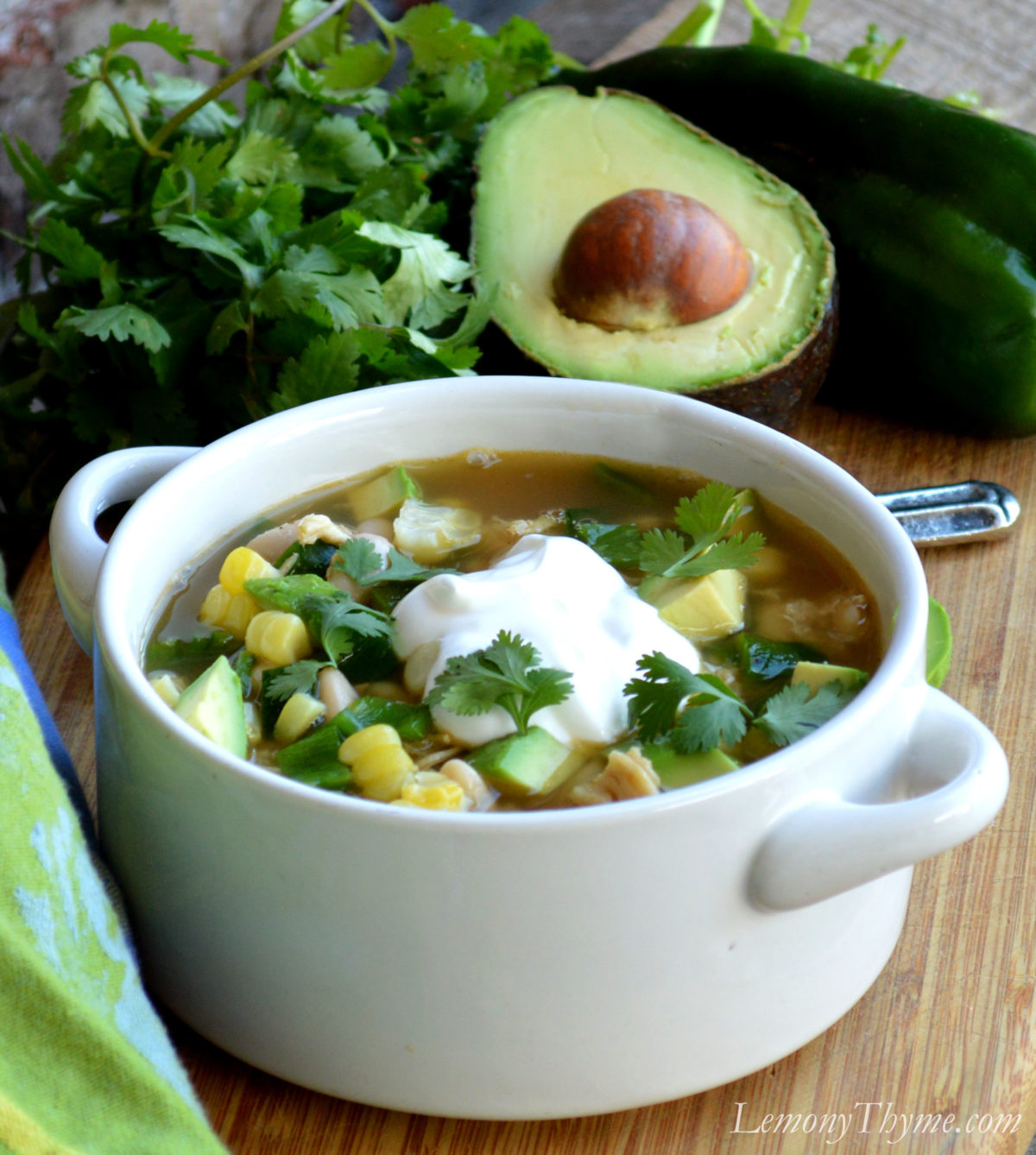White Chicken Chili {with Fire Roasted Poblano Peppers} Lemony ...