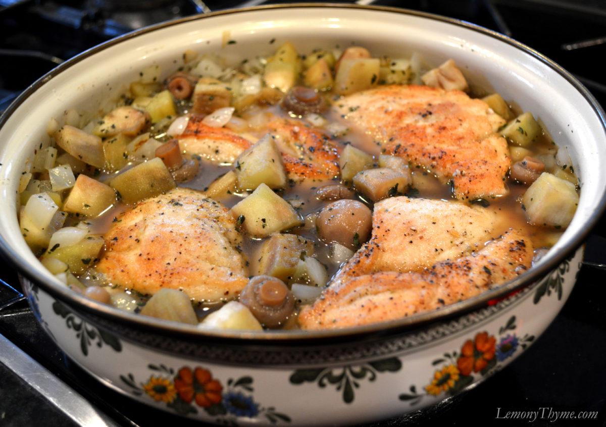 Greek Chicken & Eggplant Stew {with Citrus Herb Gremolata}