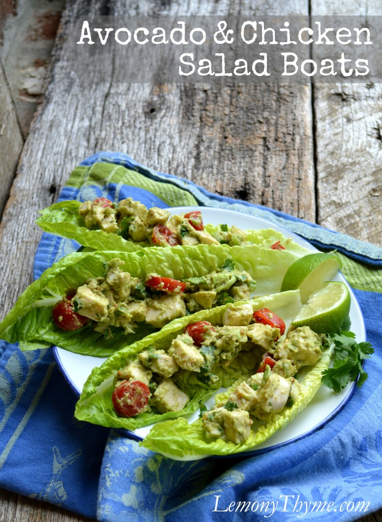 Avocado & Chicken Salad Boats | LemonyThyme.com