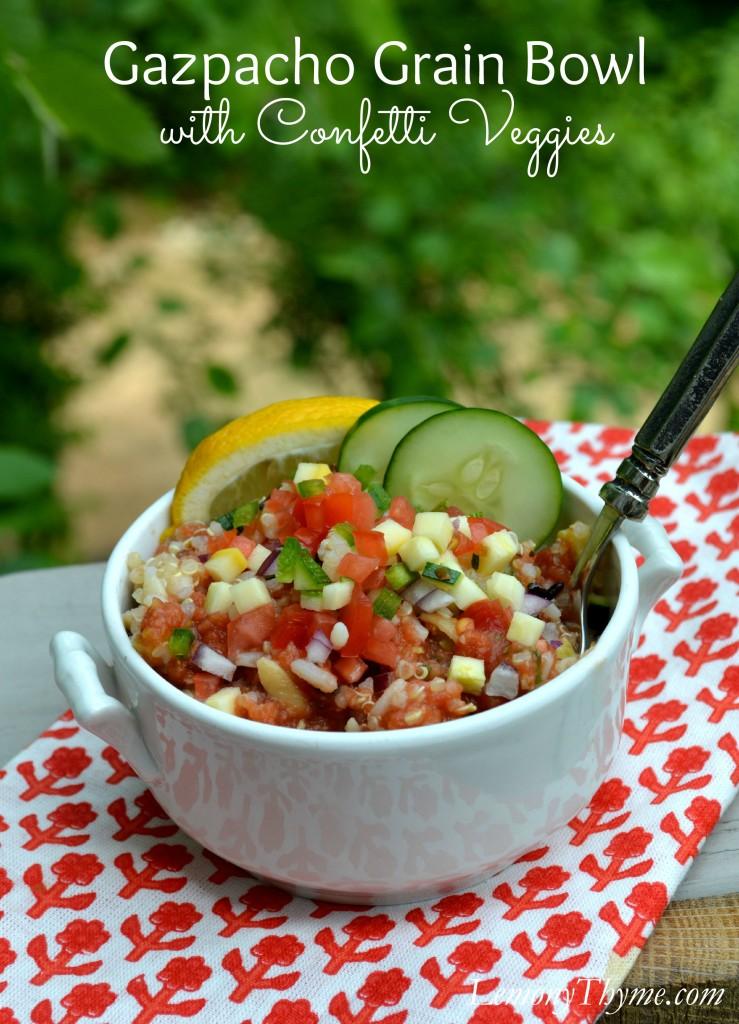 Gazpacho Grain Bowl with Confetti Veggies | LemonyThyme.com