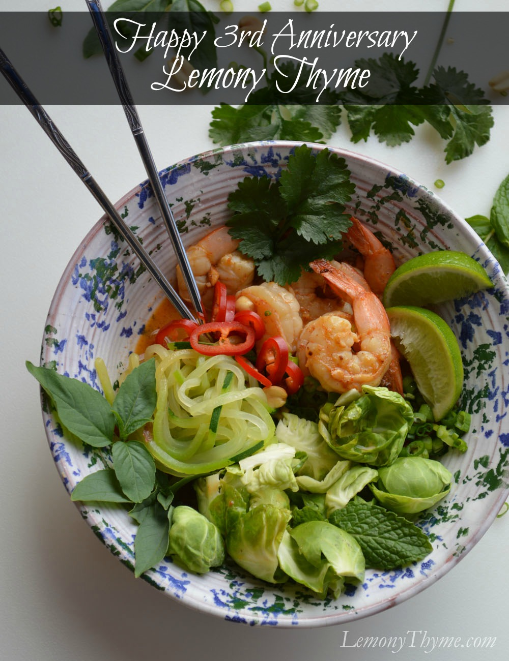 Happy 3rd Anniversary Thai Spicy Shrimp Buddha Bowl
