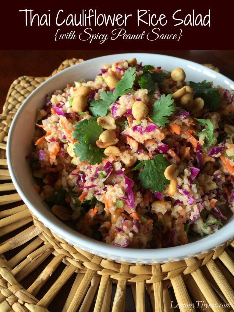 Thai Cauliflower Rice Salad {with Spicy Peanut Sauce} | LemonyThyme.com