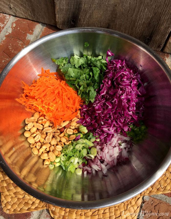 chose purple cabbage, carrot, jalapeno, red onion, scallion, peanuts ...
