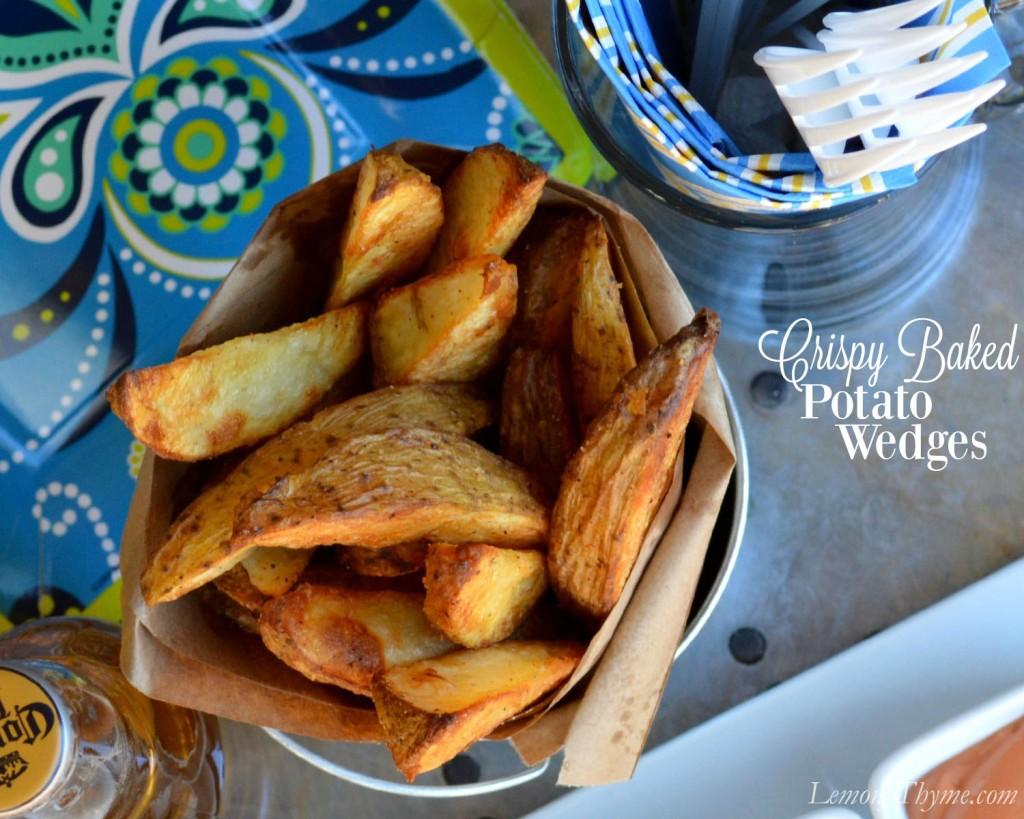 Crispy Baked Potato Wedges | LemonyThyme.com | #PubFries #GameDayRecipes