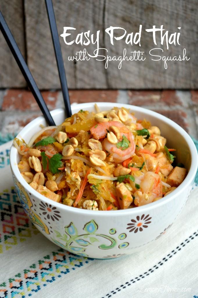 Easy Pad Thai with Spaghetti Squash | LemonyThyme.com